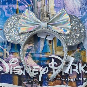 Silver Sequin Metallic Mickey Mouse Ears Disney